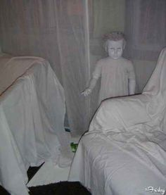 Cover a room in painter's cloth, and don't forget the creepy child mannequin.