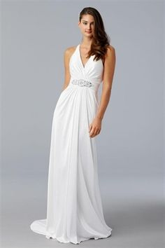 great front but no-no on the criss cross back. halter neck is best. Picture of White Chiffon Wedding Dress, Halter Neck Wedding Dress, Wedding Gowns