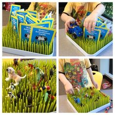 Speech therapy ideas- Grass (bottle dryer rack)... Kids loved hiding bugs in the grass, sticking articulation cards in the grass and mowing the grass with the tractor. www.childrensther...