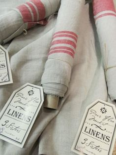 Available at Country Sampler.Love her inventory. Textile Fabrics, Home Textile, Linen Fabric, Linen Bedding, Bed Linen, Country Sampler, Linens And Lace, White Linens, Vintage Textiles