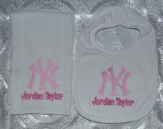 New York Yankees Baby Bib Burp Cloth Set by Dana Marie Creations, $14.00