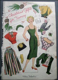 1950s Nancy By Hilda Miloche Paper Dolls 6 Uncut Pages: Hilda Miloche: Amazon.