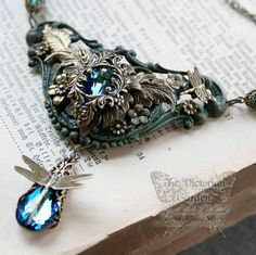 THE MYSTIC'S GARDEN Victorian fantasy necklace with garden motif in shades of teal green, gift boxed