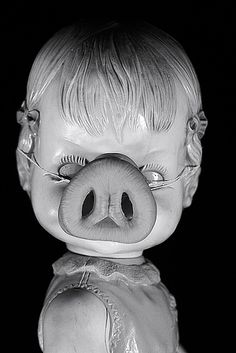 Creepy Doll Sports A Pig Nose by Charlie the Cheeky Monkey, via Flickr