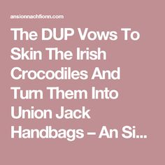 The DUP Vows To Skin The Irish Crocodiles And Turn Them Into Union Jack Handbags – An Sionnach Fionn