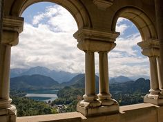 Neuschwanstein Castle, Bavaria, Germany; view of the Alps from inside the castle.