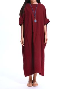 Loose Women Pure Color Brief Batwing Sleeve Pocket Maxi Dress at Banggood af1cdd741