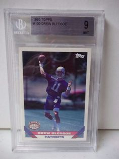 1993 Topps Drew Bledsoe Rookie BGS Graded Mint 9 Football Card #130 NFL  #NewEnglandPatriots