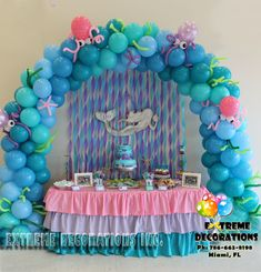 Mermaid Under the sea Balloon arch / Cake table decoration. Party ideas from Extreme Decorations Miami Ph: / Little Mermaid Balloon Decorations, Mermaid Balloons, Mermaid Table Decorations, Little Mermaid Birthday, Little Mermaid Parties, The Little Mermaid, Mermaid Under The Sea, Deco Ballon, Mermaid Baby Showers