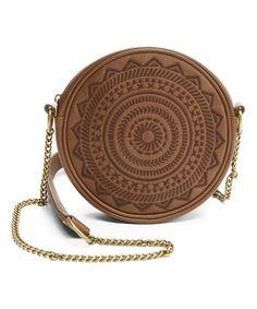 Look at this #zulilyfind! Brown Embroidered Round Crossbody Bag #zulilyfinds