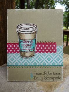 Clean and simple card using Stampin' Up! Perfect Blend stamp set, core'dinations crumb cake card stock, polka dot parade dsp, afternoon picnic dsp, real red card stock, bermuda bay cs