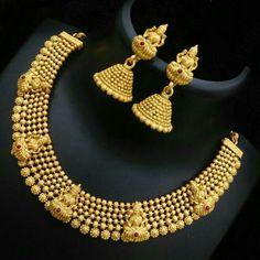 Gold nechlec with jhumki