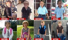 Hilarious before and after photos of children's first day at school