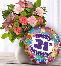 21st Birthday Flowers And Balloon Available For UK Wide Delivery From Order Flowerscouk