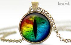 Rainbow Cat Eye Necklace, Cat Eye Jewelry, Evil Eye Charm, Eyeball Pendant (1362)
