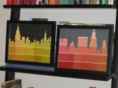 Maybe not with paint chips, but I love the idea of a silhouette of the Louisville skyline.  Seems like it would be super easy too! Paint Swatch Art, Paint Swatches, Paint Chip Art, Paint Chips, Skyline Painting, Skyline Art, Nyc Skyline, Cityscape Art, Diy Wall Art
