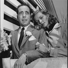 "Humphrey Bogart and Lauren Bacall.  Actor and Actress in 1940's.  They met in a movie and wed.  Humphrey known for his line, ""Here's looking at you kid""."