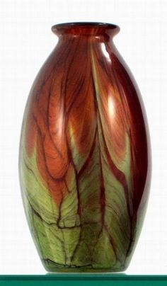 Peacock glass vase, Bohemian glass in green and amber with out-turned rim  circa 1930