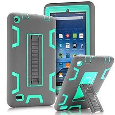 """TOPSKY Fire 7"""" (2015 release) Case[Kickstand Feature]Shock-Absorption / High Impact Resistant Heavy Duty Armor Defender Case For Amazon Fire 7 Inch Tabletwith Stylus Grey/Green"""