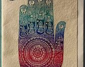 Thai traditional art Hand of Buddha by silkscreen printing on Mulberry paper Card