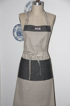 Womens Apron  Full  Gray Strips  Server  Caterer by SouthernAplus