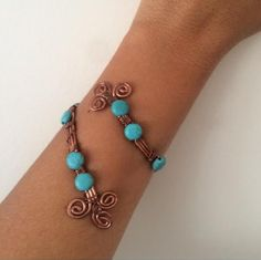 Wire wrapped turquoise bracelet wire wrapped by santorinijewellery