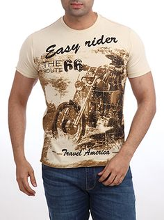 Parx has introduced this Parx Jeans Men Fawn T-Shirt for the new age man of today. The moment you look at this slim fit Fawn T-Shirt, the biker in you will force you to posses this one. The graphic of an American biker with complete biking gear gives it a very retro look. This light fawn colored T-shirt is perfect to go with your leather jacket and leather boots. Put on your aviators too and you are ready to hit the road for that weekend getaway. Leather Boots, Leather Jacket, Everyday Casual Outfits, Fawn Colour, Aviators, Retro Look, Casual T Shirts, Biking, Tshirt Colors