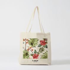 Tote Bag Tropical Flowers - Printed Cotton - by L'Atelier des Amis Cotton 130 g without chlorineNon toxical inksBag dimensions : X cmHandle dimensions : x cm Sacs Tote Bags, Canvas Tote Bags, Reusable Tote Bags, Tropical Flowers, Embroidery Bags, Flower Embroidery, Bag Illustration, Painted Bags, Cotton Tote Bags