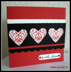 Valentine Hearts and Bliss Card:  Stamps: SU! Bliss set, 'with love' from PSX  Paper: SU! Riding Hood Red, Basic Black and Shimmery White  Ink: SU! Riding Hood Red, Memento Tuxedo Black  Accessories: SU! heart punch, SU! Eyelet Border punch, Craft Concepts Stained Glass embossing folder, Spellbinders Labels Trio die, red pearls, 3d foam pads