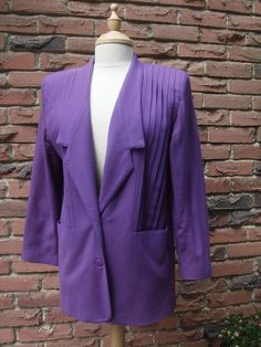 Mauve Wool Jacket with Front and Back Pleats