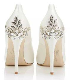My bridal shoes Harriet Wilde Marina Daisy - Wedding Shoes - Crystal Bridal Accessories Wedding Shoes Bride, White Wedding Shoes, White Shoes, Wedding Dresses, Blue Shoes, White Pumps, Wedding Shoes Heels, Wedding Shoes Ivory, Cinderella Wedding Shoes