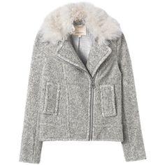 Rebecca Taylor Faux Merino Moto Jacket (€225) ❤ liked on Polyvore featuring outerwear, jackets, coats, coats & jackets, kurtki, light grey, zip jacket, shearling collar jacket, faux moto jacket and rider jacket