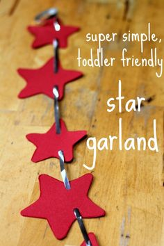 super simple idea for a star garland that toddlers and preschoolers can make. It looks lovely and festive, and is a great work out for developing fine motor skills.