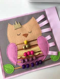 Quiet book PAGE, handmade busy book, montessori activity book, sensory book for kids, travel toy for girls, soft book with owl and abacus by Renufaktura on Etsy https://www.etsy.com/listing/571593618/quiet-book-page-handmade-busy-book
