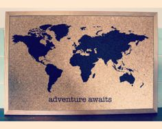 World map cork board use pins to document our adventures world map travel cork board medium personalised with name or quote wooden frame plain background painted onto pinboard gumiabroncs Choice Image