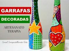 DIY Garrafas Decoradas estilo Romero Britto  - Artesanato terapia do Compartilhando Arte - YouTube