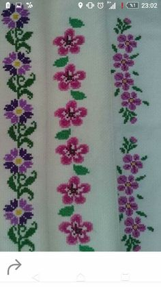All over design for dress Cross Stitch Borders, Cross Stitch Flowers, Cross Stitch Designs, Cross Stitching, Cross Stitch Embroidery, Cross Stitch Patterns, Flower Patterns, Crochet Patterns, Kutch Work Designs