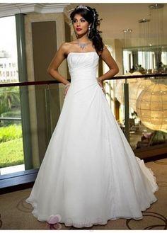 Pretty Elegant Chiffon Ball Gown Strapless Wedding Dress In Great Handwork W1858  $230.44