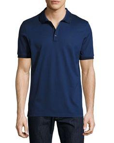 SALVATORE FERRAGAMO Cotton Piqué 3-Button Polo Shirt With Gancini Detail On Collar, Ultra Blue. #salvatoreferragamo #cloth #