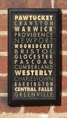 Cities of Rhode Island Subway Scroll Vintage Style by CrestField, $27.00