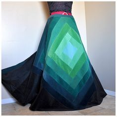 Emerald Dream - Long patchwork corduroy skirt, ooak bohemian hippie skirt, rich green tones, Can fit sizes - S to XL, Tall
