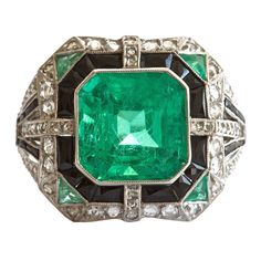 Columbian Six Carat Emerald Platinum Ring . Colombia