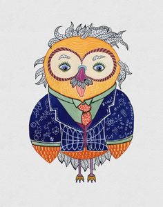 Albert Einstein Owl, Watercolor Art Print, 8x10 inches by Eve Devore  BEAUTIFUL!!!
