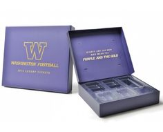 This large 3 sided hinged lid presentation box is one of our latest packaging creations. Produced for the University of Washington Football Team, the Washington Huskies, it has been printed to match the team colours, with a matt lamination finish.