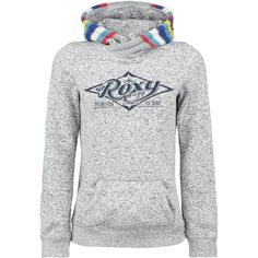 Roxy hoodie for colder days, with button tape on the collar, kangaroo pocket and striped pocket. SOMEONE BUY ME THIS!