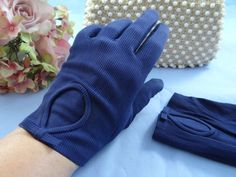 Neyret French Navy Circle and Bow Cotton Gloves  by SecondWindShop