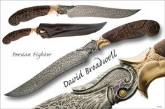 This Persian has a composite damascus steel blade. Dave Lisch made a mosaic billet and attached a twist pattern edge, then forged it to Broadwell's shape. It was then flat ground and carved. The handle is curly koa. Fittings were carved in wax and cast in 14k yellow gold, almost 2 ounces total. The scabbard was made from laminated layers of leather, carved, and overlaid in calf skin. Broadwell gave this knife a higher level of carving at the customer's request.