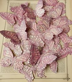 BUTTERFLY DIE CUTS Set/4 Embossed Inked Acid Free Cardstock Pink Mauve Purple Shabby Chic by PaperPastiche on Etsy