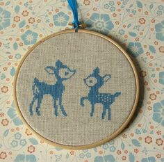 Cross Stitch Furry Friends (fawns, fox, skunk). Pattern in link.
