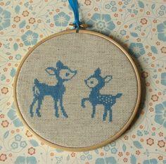 EMBROIDERY – CROSS-STITCH / BORDERIE / BORDUURWERK – Cross Stitch Furry Friends (fawns, fox, skunk).  Pattern in link.